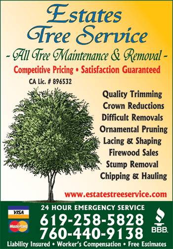 Estates Tree Service San Diego Business Card for Tree Trimming Services